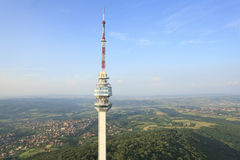 Television tower aerial view Royalty Free Stock Photos