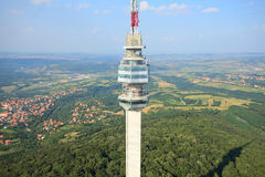 Television tower aerial view Royalty Free Stock Photo