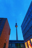 Television Tower of Berlin, Germany, at dusk Stock Images