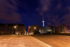 Television tower of Berlin, Germany, at night Royalty Free Stock Images