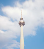 Television tower in berlin mitte with blue sky Stock Photo