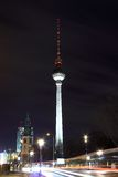 Television tower in Berlin by night Royalty Free Stock Images