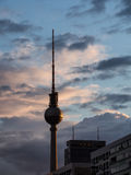 Television tower in Berlin at sunset, Germany Stock Photos