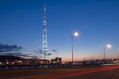 Television tower in the city of St. Petersburg. Night view of a television tower in the city of St. Petersburg, Russia Royalty Free Stock Photos