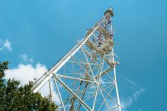 Television tower on High castle. In Lviv, Ukraine stock photography