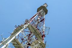 Television tower on High castle. In Lviv, Ukraine stock photos
