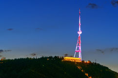 Television tower on the Mtatsminda mountain at night. Tbilisi, Georgia Royalty Free Stock Photography