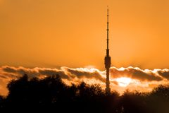 Television tower Ostankino on sunset Royalty Free Stock Photos