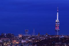 Television tower in Prague Stock Photos