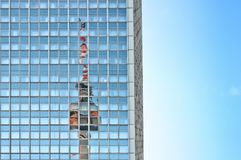 Television Tower reflected on skyscraper in Berlin Stock Images