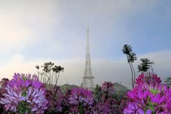 Television tower resembling Eiffel Tower, Dalat. Dalat is called Little Paris, being a romantic escape for Vietnamese city dwellers . The Television tower is Royalty Free Stock Image
