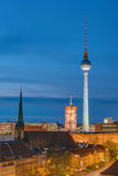 Television Tower and townhall at night Royalty Free Stock Image