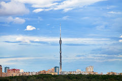 Television tower under blue autumn sky Stock Photo