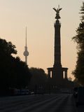 Television tower and victory column Stock Images