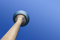 Television transmission tower. In Dusseldorf, Germany, against a blue sky Royalty Free Stock Photo