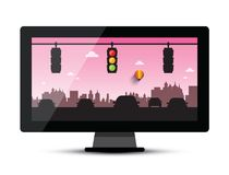 Television - TV with Cars and Traffic Lights. In Evening City Vector Illustration