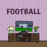 Television, TV watching football, soccer match Royalty Free Stock Photography