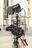 Television video camera recording news Stock Image
