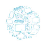 Television, video and computer device, electronic gadget hand drawn vector illustration Stock Image