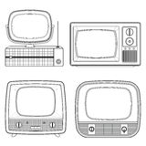 Television vintage line  isolated on white background. Vector il Royalty Free Stock Photography