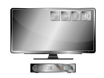 Television Widescreen and Top Box Royalty Free Stock Photo