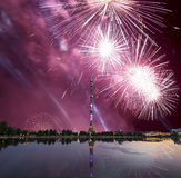 Television (Ostankino) tower at Night and holiday fireworks, Moscow, Russia Royalty Free Stock Images