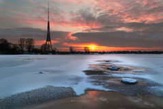 Televisional tower of city Riga Stock Images
