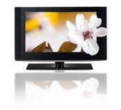 televisione 3D. Affissione a cristalli liquidi della TV in HD 3D. Fotografia Stock Libera da Diritti