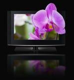 televisione 3D. Affissione a cristalli liquidi della TV in HD 3D. Fotografie Stock