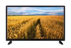 Televisione a alta definizione con la strada in orecchie del grano sullo schermo Fotografia Stock Libera da Diritti