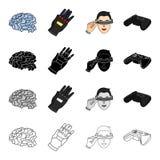 Televisione, cinema, tecnologia e l'altra icona di web nello stile del fumetto Reale, 3G, schermo, icone nella raccolta dell'insi Immagine Stock