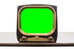 Televisione d'annata degli anni 50 isolata con lo schermo di verde di chiave di intensità immagini stock libere da diritti