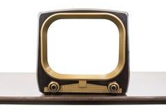 Televisione d'annata degli anni 50 isolata con lo schermo vuoto fotografie stock libere da diritti