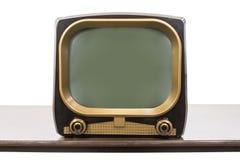 Televisione d'annata degli anni 50 isolata su bianco fotografie stock libere da diritti