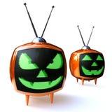 Televisione della zucca di orrore Fotografia Stock