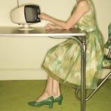 Televisione di composizione della donna. Immagine Stock