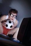 Televisione di sorveglianza del fan di calcio fotografia stock