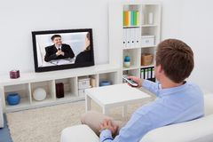 Televisione di sorveglianza dell'uomo Fotografia Stock Libera da Diritti
