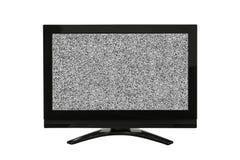 Televisione moderna isolata su bianco con lo schermo statico immagine stock