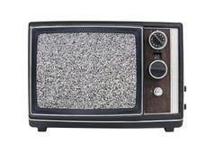 Televisione portatile d'annata dello schermo statico Immagine Stock