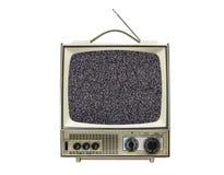 Televisione portatile d'annata Grungy isolata con lo schermo statico immagine stock