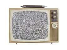 Televisione portatile degli anni 60 d'annata con lo schermo statico Immagini Stock Libere da Diritti