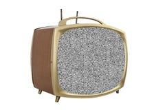 Televisione portatile dei retro anni 50 con lo schermo statico immagini stock libere da diritti
