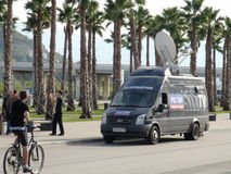 Televisione russa vicino al parco olimpico GRAN PREMIO RUSSO 2014 di FORMULA 1 di Soci Autodrom Immagine Stock Libera da Diritti