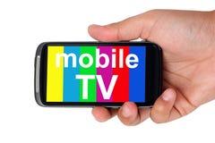 Televisione sullo Smart Phone Fotografia Stock Libera da Diritti