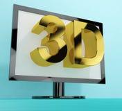 Televisione tridimensionale o 3D HD TV Fotografia Stock Libera da Diritti