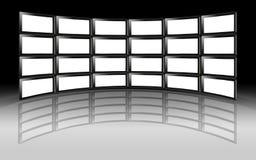 Televisiones del plasma del LCD de la pared de la TV Imagen de archivo