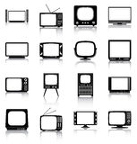 Televisions. 16 silhouettes of retro and modern televisions Stock Photography