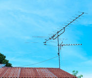 Televisions antennas. With blue sky background Stock Photo