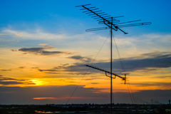 Televisions antennas on top tower royalty free stock image